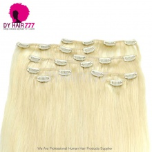 Blonde Color #613 Clip In Hair Extensions 100% Human Hair