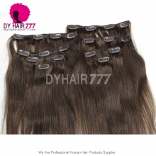 Color 2 Brown Clip In Hair Extensions Straight 100% Virgin Hair