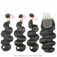Best Match 4*4 Top Lace Closure With 3 or 4 Bundles Royal Burmese Virgin Hair Extension Body Wave Hair Extension
