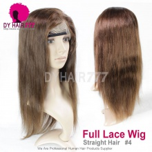 4# Top Quality Virgin Human Hair Straight Hair Full Lace Wigs