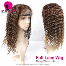 4# Top Quality Virgin Human Hair Deep Wave Full Lace Wigs