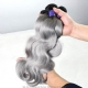 3 or 4pcs/lot Royal Grade Cambodian Body Wave Gray Hair Silver Grey Ombre Human Hair Extension