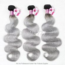 Royal Grade 3 or 4pcs/lot Brazilian Body Wave Gray Hair Silver Grey Ombre Human Hair Extension