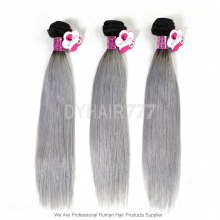 Royal Brazilian Virgin Straight Hair 3 or 4 Bundles Silver Grey Ombre Hair Extension