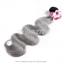Royal 1 Bundle Brazilian Virgin Hair Body Wave Ombre Silver Grey Hair Extensions
