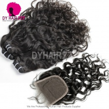 Best Match 4*4 Top Lace Closure With 3 or 4 Bundles Malaysian Natural Wave Standard Virgin Human Hair Extensions