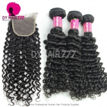 Best Match 4*4 Top Lace Closure With 3 or 4 Bundles Malaysian Deep Curly Royal Virgin Human Hair Extensions