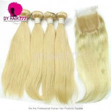 Best Match Top Lace Closure With 4 Bundle European Silky Straight Hair Royal Virgin Remy Hair Extensions #613 Blonde