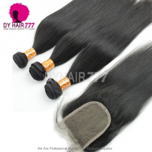 Best Match 4*4 Top Lace Closure With 3 or 4 Bundles Standard Virgin Remy Hair Indian Silky Straight Hair Extensions