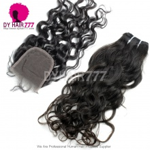 Best Match 4*4 Top Lace Closure With 4 or 3 Bundles Indian Natural Wave Standard Virgin Human Hair Extensions