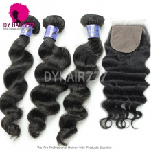 Best Match 4*4 Silk Base Closure With 3 or 4 Bundles Cambodian Loose Wave Standard Virgin Human Hair Extensions
