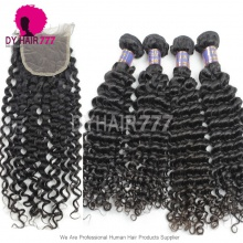 Best Match 4*4 Top Lace Closure With 3 or 4 Bundles Cambodian Deep Curly Standard Virgin Human Hair Extensions