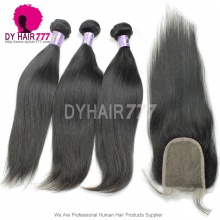 Best Match 4*4 Top Lace Closure With 3 or 4 Bundles Standard Virgin Remy Hair Mongolian Silky Straight Hair Extensions
