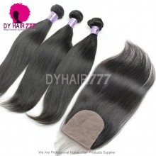 Best Match 4*4 Silk Base Closure With 3 or 4 Bundles Standard Virgin Remy Hair Mongolian Silky Straight Hair Extensions