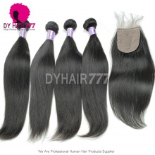 Best Match 4*4 Silk Base Closure With 4 Bundles Mongolian Silky Straight Hair Standard Virgin Remy Hair Extensions