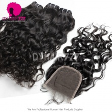 Best Match 4*4 Top Lace Closure With 4 Bundles Standard Virgin Mongolian Natural Wave Human Hair Extensions