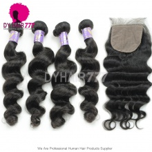 Best Match 4*4 Silk Base Closure With 4 Bundles Standard Virgin Mongolian Loose Wave Human Hair Extensions