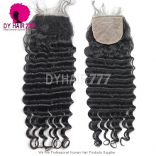 Silk Base Closure (4*4) Deep Wave Virgin Hair Top Closure Freestyle Free Part Middle Part Two Part Three Part