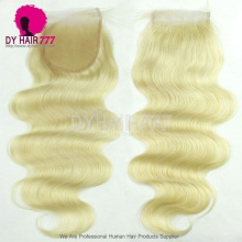 Blonde 613 Lace Top Closure (4*4) Body Wave Human Virgin Hair Free Part Middle Part Two Part Three Part
