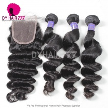 Royal 3 or 4 Bundles Cambodian Virgin Hair Loose Wave With 4*4 Top Lace Closure Hair Weft Best Match