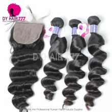 Royal 4 or 3 Bundles Cambodian Virgin Human Hair Loose Wave With 4*4 Silk Base Closure Best Match