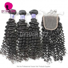 Royal 3 or 4 Bundles Deep Curly Cambodian Virgin Human Hair With 4*4 Lace Top Closure Best Match