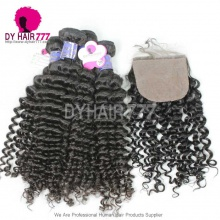 Royal 4 Bundles Cambodian Virgin Hair Weave Deep Curly With 4*4 Silk Base Closure Best Match