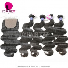 Royal 4 Bundles Body Wave Cambodian Virgin Hair Weave With 4*4 Silk Base Closure Best Match