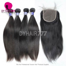 Best Match 5*5 Lace Top Closure With 3 Or 4 Bundles Straight Hair Double Weft Royal Grade Cambodian Virgin Hair