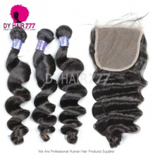 Best Match 5*5 Lace Top Closure with 3 or 4 Bundles Loose Wave Royal Grade Cambodian Virgin Remy Hair