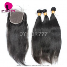 5*5 Lace Top Closure With 3 Or 4pcs Vrigin Standard Indian Straight Hair Extension Best Match