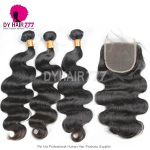 Best Match Lace Top Closure 5*5 With 3 or 4 Bundles Indian Body Wave Virgin Remy Hair Standard Grade
