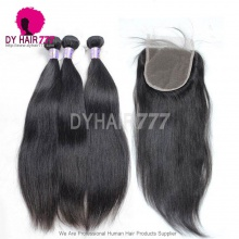 Best Match 5*5 Lace Top Closure With 3 or 4 Bundles Standard Virgin Remy Mongolian Straight Hair