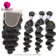 Best Match 5*5 Lace Top Closure With 3 or 4 Bundles Mongolian Hair Loose Wave Standard Grade