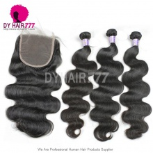 Best Match 5*5 Lace Top Closure With Standard Grade Virgin Mongolian Body Wave Hair 3 or 4 Bundles