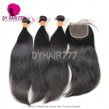 Best Match 4*4 Top Lace Closure With 3 or 4 Bundles Royal Burmese Virgin Hair Extension Straight Hair
