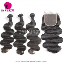 Standard Virgin Hair Peruvian Body Wave 3 or 4 Bundles With 5*5 Top Lace Closure Best Match Hair Extension