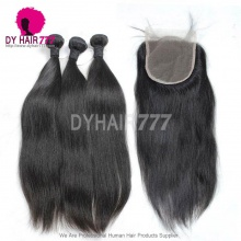 Silky Straight Strandard Best Match 5*5 Top Lace Closure With 3 or 4 Bundles Peruvian Human Hair Extension