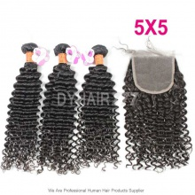 Best Match 5*5 Lace Top Closure With 3 Or 4 Bundles Royal Deep Curly Wave Burmese Virgin Hair Extension