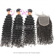 Best Match 4*4 Top Lace Closure With 3 or 4 Bundles Royal Burmese Virgin Hair Extension Deep Culry Hair Extension