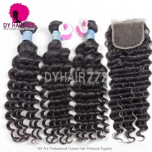 Best Match Royal 3 or 4 Bundles Peruvian Virgin Hair Deep Wave With Top Lace Closure Hair Extensions