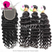 Best Match 5*5 Top Lace Closure With 3 Or 4 Bundles Standard Grade Deep Wave Indian Virgin Hair Extension