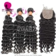Best Match 4*4 Silk Base Closure With 4 or 3 Bundles Royal Virgin Remy Hair Burmese deep wave Hair Extensions