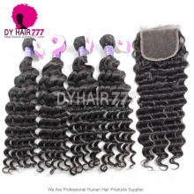 Best Match Royal 3 or 4 Bundles Cambodian Virgin Hair Deep Wave With 4*4 Top Lace Closure Hair Extensions