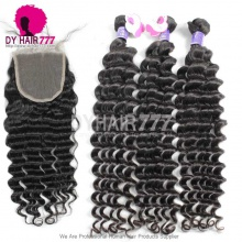 Best Match 5*5 Lace Top Closure With 3 Or 4 Bundles Royal Grade Deep Wave Cambodian Virgin Hair Extension