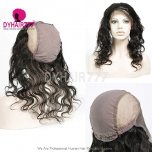 Cap with 13*4 Lace Frontal Closure Human Virgin Hair Body Wave Natural Color
