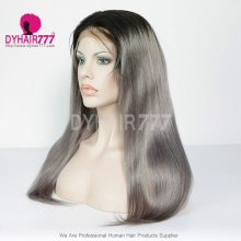 130% Density Lace Front Wig Ombre Color 1B/Grey Straight Hair Virgin Human Lace Wig
