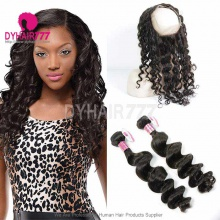 Royal Grade 2 or 3 Bundles Virgin Brazilian Loose Wave With 360 Lace Frontal Hair Extensions