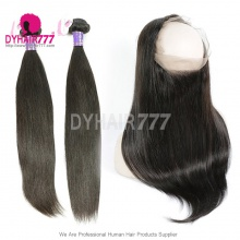 Royal Grade 2 or 3 Bundles Virgin Cambodian Straight Hair With 360 Lace Frontal Hair Extensions