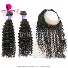 Royal Grade 2 or 3 Bundles Virgin Cambodian Deep Curly With 360 Lace Frontal Hair Extensions